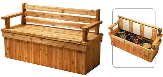 plans for deck bench which allows storage space for seat cushions, Garten ideen