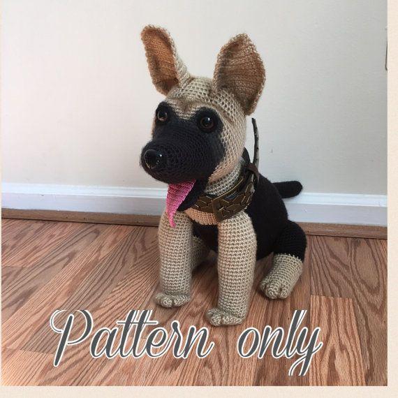 Amigurumi Perro Pug Patron : Patron de ganchillo de perro de pastor aleman PDF. Ingles ...