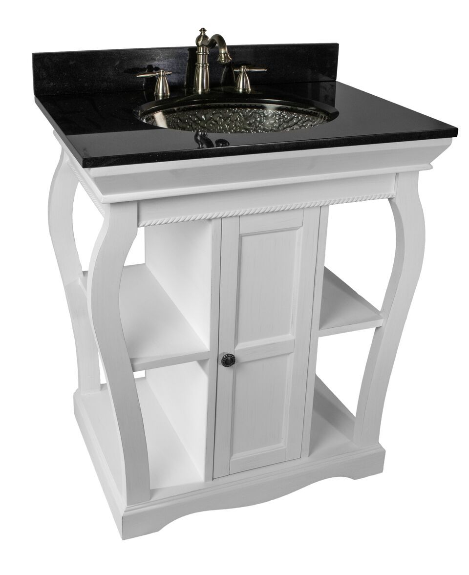 White Vineta Vanity With Black Granite Undermount Top Black