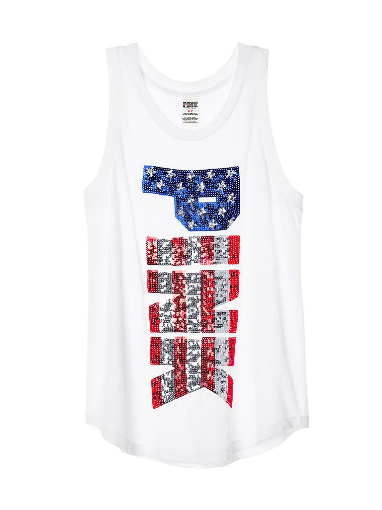 Small Victoria/'s Secret Pink Americana Sequin Bling Logo White Muscle Tank Top
