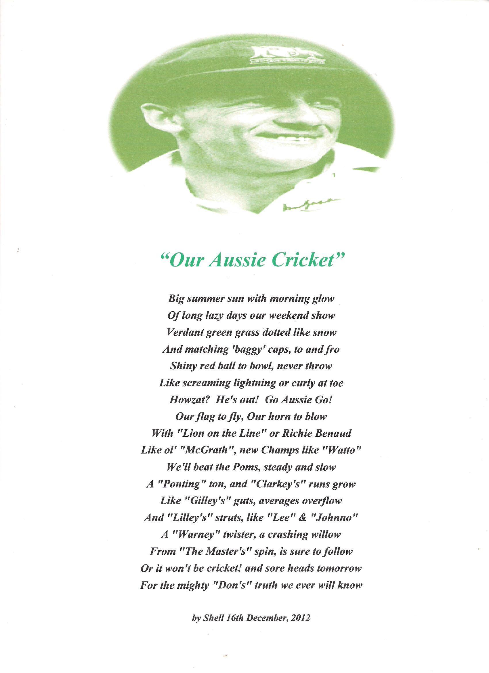 poem aussie cricket poems