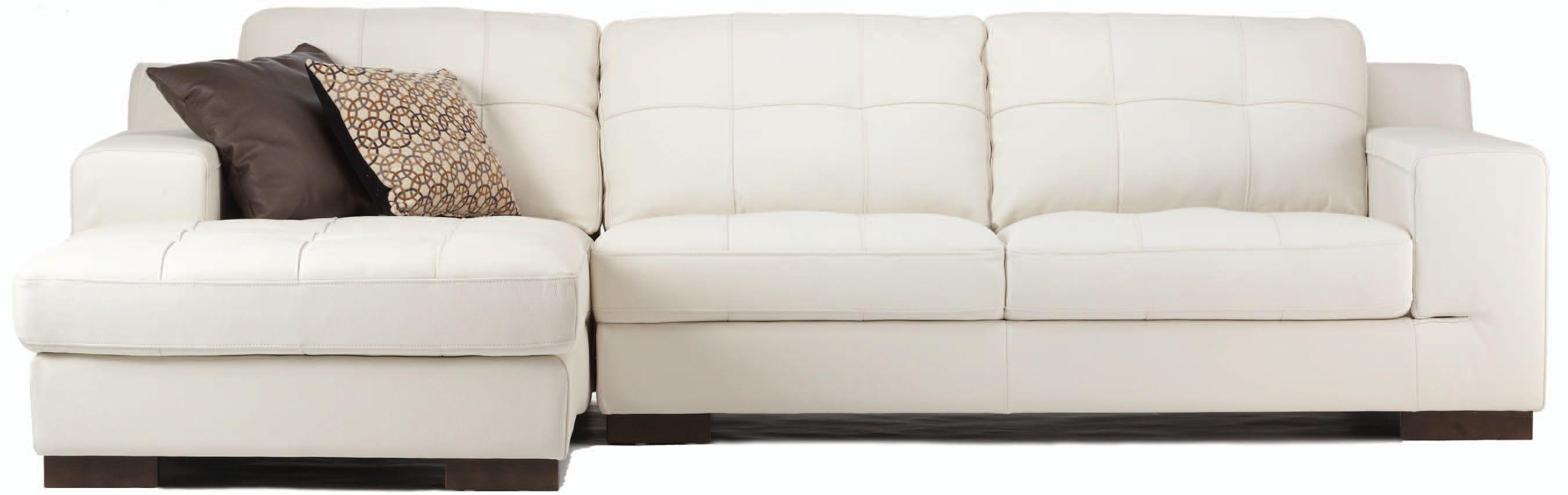 Montez White Leather Sectional Kasala Black White