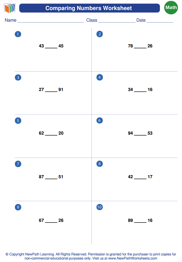 Try out our #free comparing numbers #worksheet #generator here ...