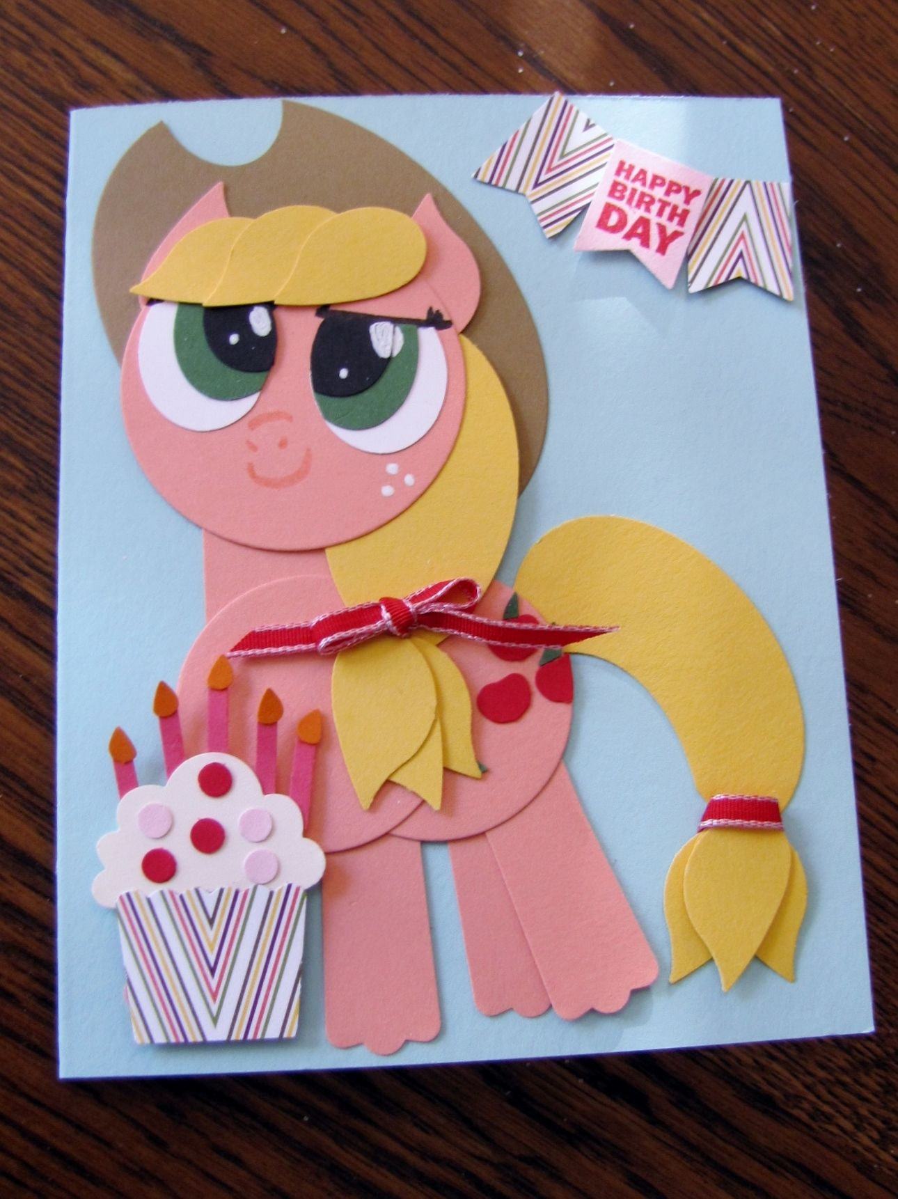 My Little Pony Applejack Punch Art Birthday Card