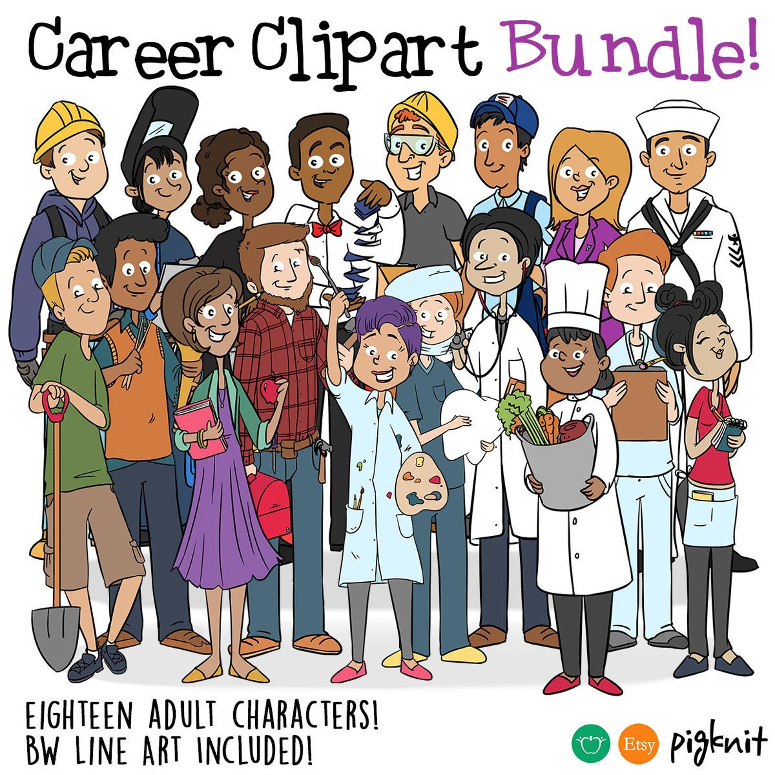 Career Business People Bundle Printable Digital Clipart Png Set For Instant Download Scrapbooking Art Or Teacher Use Clip Art Digital Clip Art Career