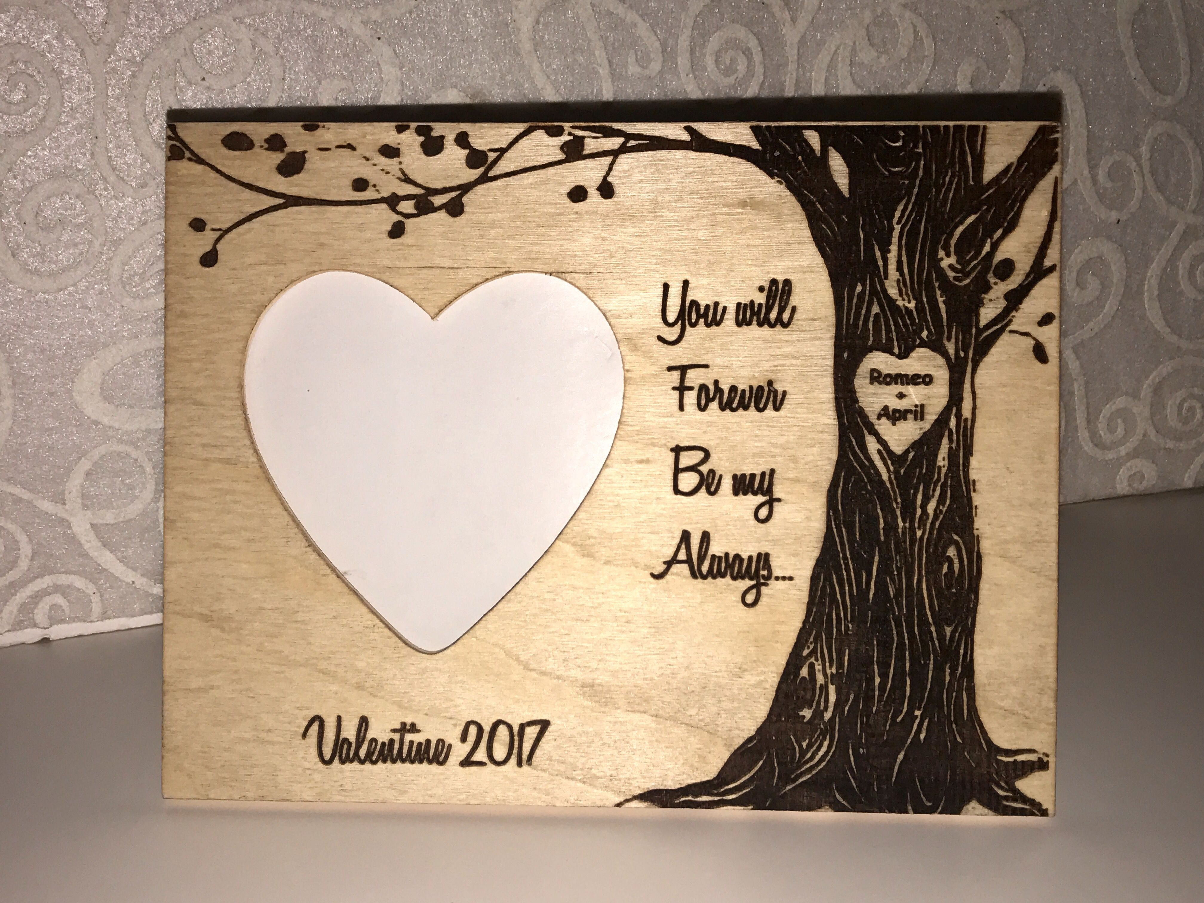 Personalized couples frame valentine gift with your names you will forever be my always personalized frame with couples names engraved in the tree jeuxipadfo Image collections