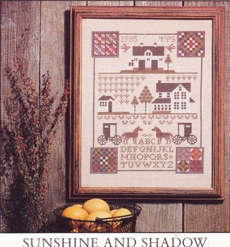 Prairie Schooler  # 11 AMISH SUNSHINE & SHADOW Farm Sampler Cross Stitch Pattern