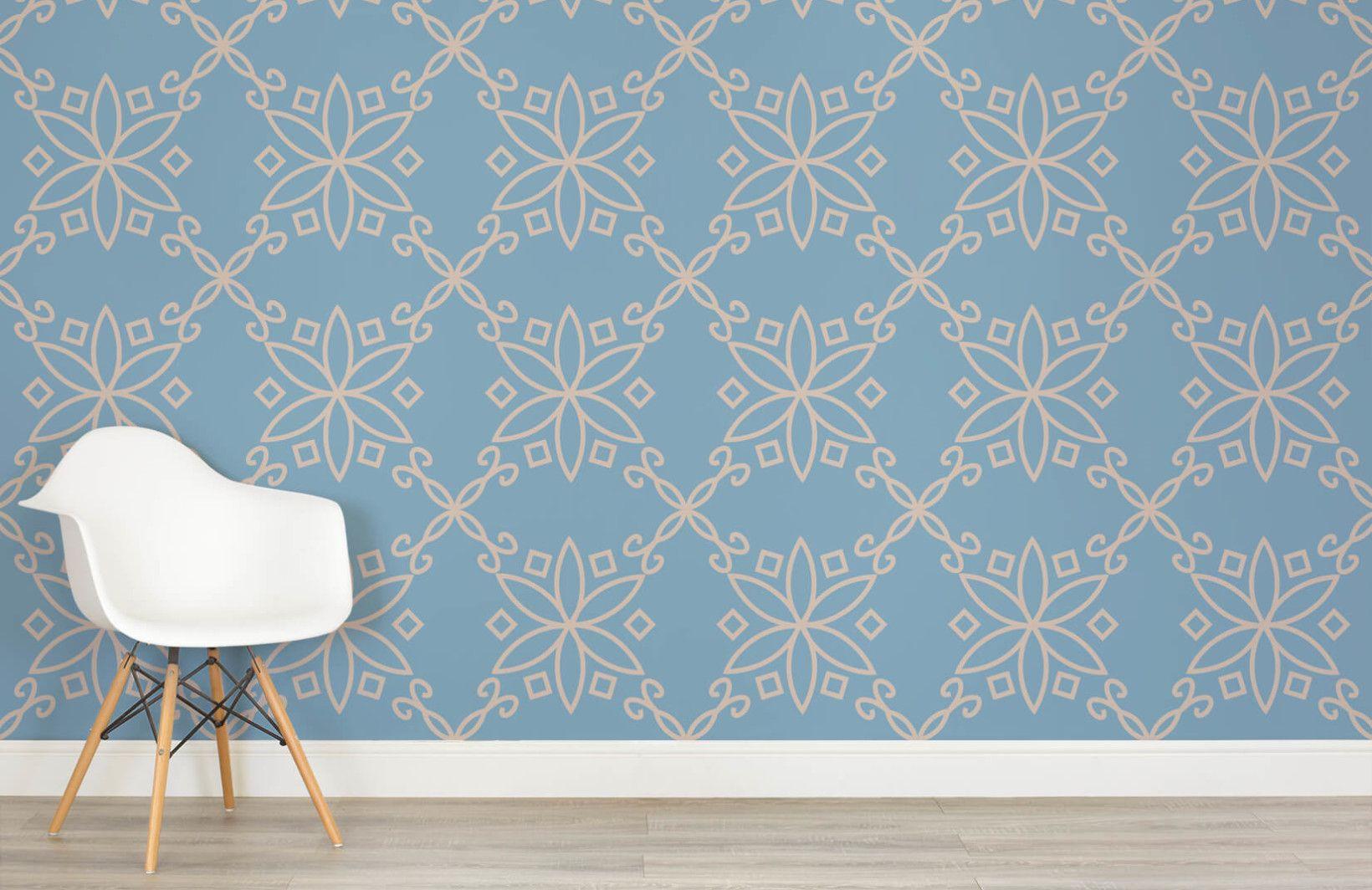 Ornate Wallpaper Cobalt Blue Design Muralswallpaper