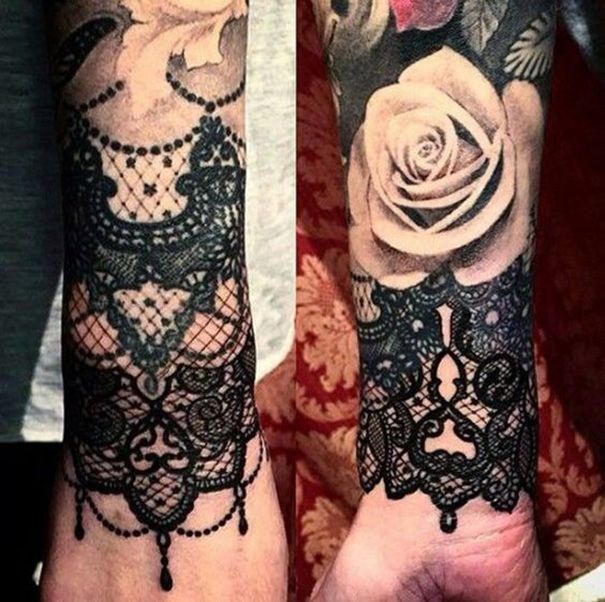 feminine spitze tattoos f r frauen tattoo pinterest. Black Bedroom Furniture Sets. Home Design Ideas