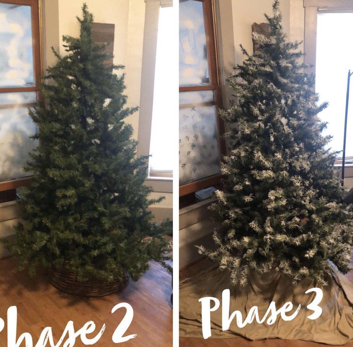 "DIY ""flocked"" tree Flocked trees, Holiday decor, Tree"