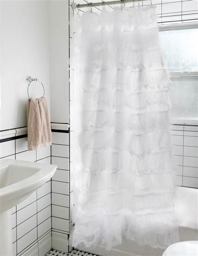 Primadonna Shower Curtain | White Ruffled Shower Curtain | Victorian  Trading Co.