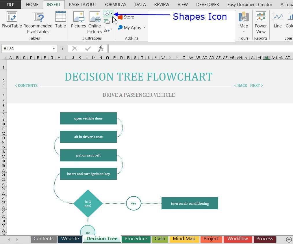 download and open excel s decision tree flowchart template excel