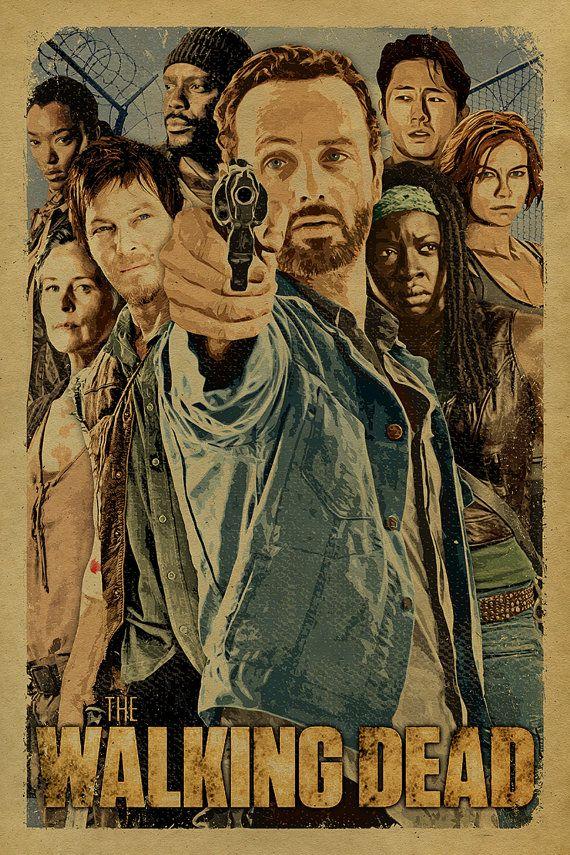 The Walking Dead cast poster with Rick, Daryl, Michonne, Glenn, Maggie, Carol, Tyresse and Sasha.12x18. Kraft paper. TV. Art. Print