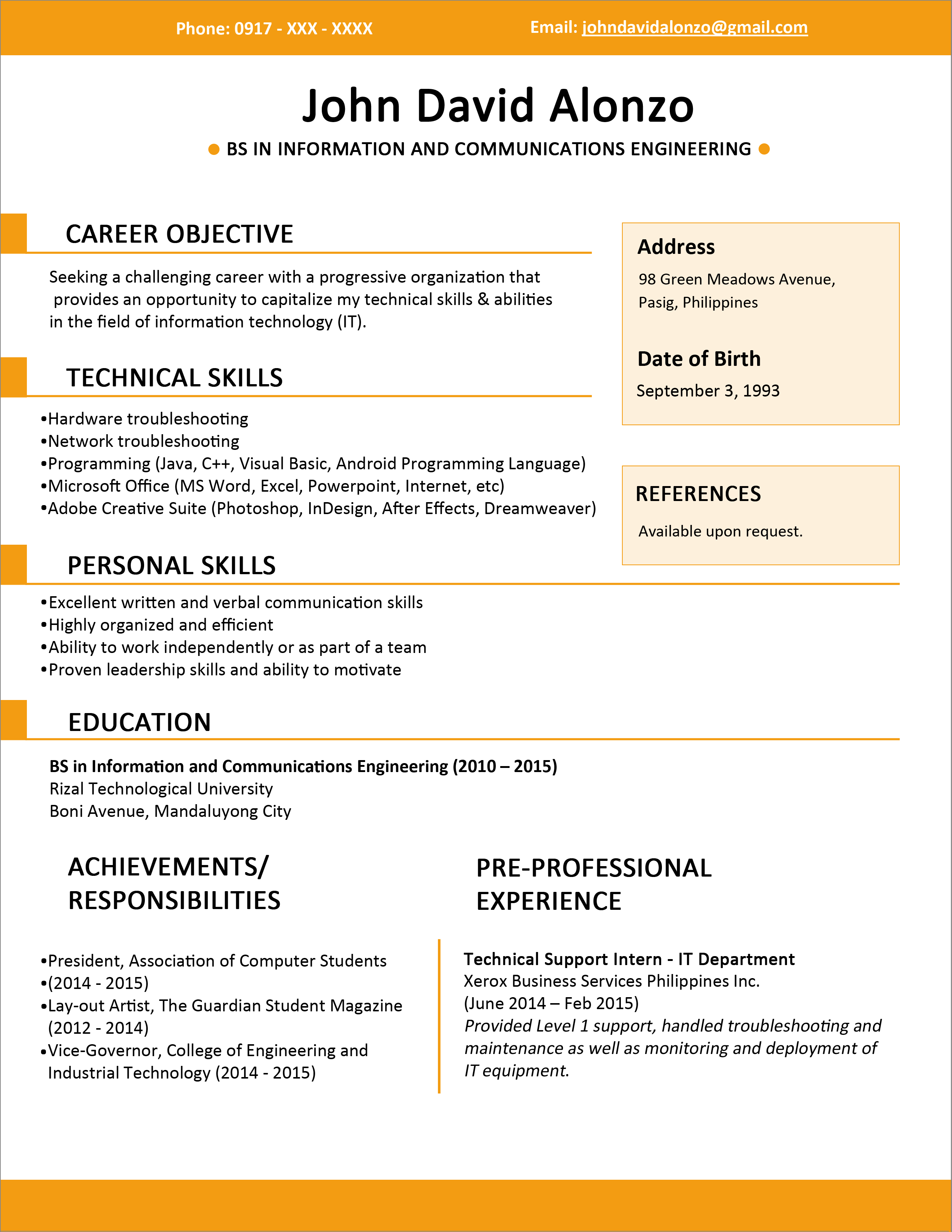 resume achievements for freshers