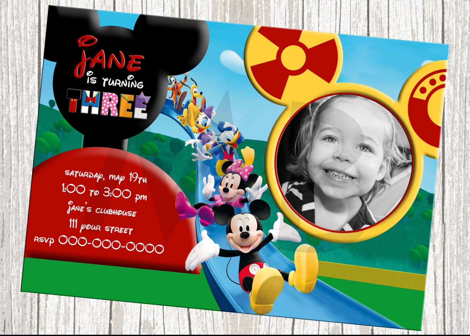 Mickey Mouse Clubhouse Character Birthday Invitation Mickey