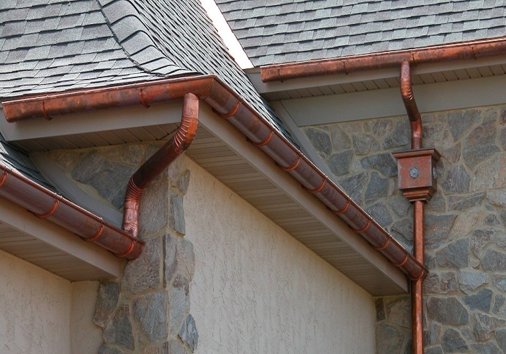 Copper Gutters And Downspouts Copper Gutters Gutters How To Install Gutters