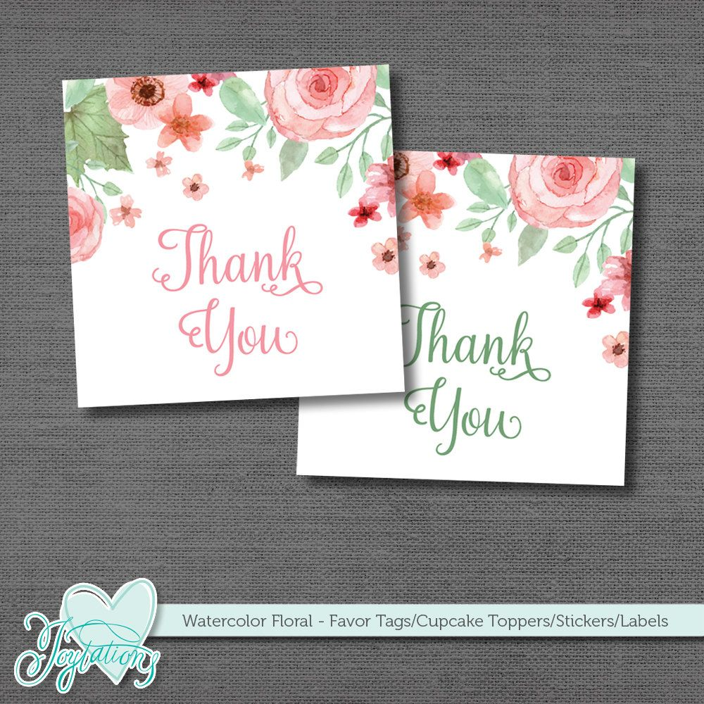 Printable Favor Tags Stickers Labels Cupcake Toppers Thank You Tag ...