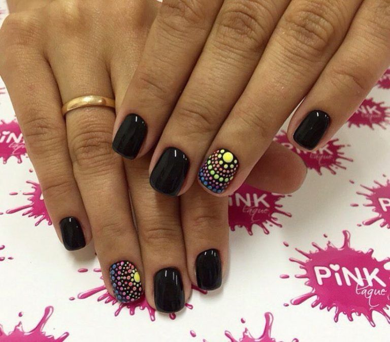 Beautiful black nails, Beautiful nails 2017, Beautiful summer nails, Black nails ideas, Manicure by summer dress, Original nails, Plain nails, Polka dot nails