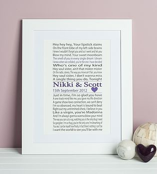 Etta James /'At Last/' Our Song Personalised Lyrics Print Anniversary Wedding Gift
