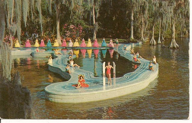 The Esther Williams Swimming Pool was built in the shape of the Map of Florida, projecting out in the Lake Eloise as a set for the MGM technicolor movie filmed at Cypress Gardens.