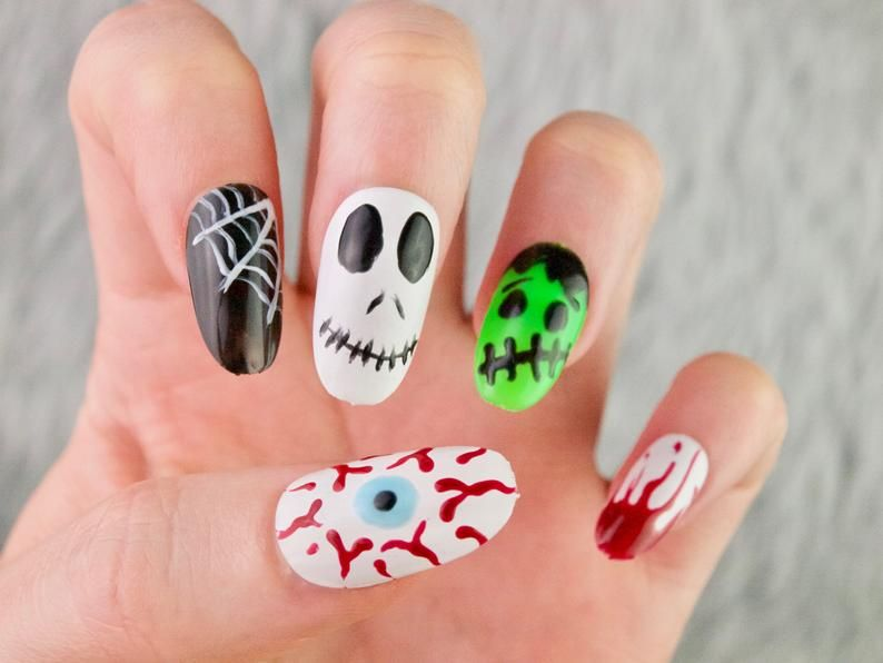 Halloween Press On Nails Skeleton Press On Nails Fake Nails Glue On Nails Custom Shapes And Sizes Halloween Skelton Nails Halloween Press On Nails Glue On Nails Halloween Nails