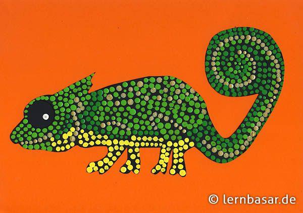 exotisches chamäleon  punktmalerei kunst grundschule
