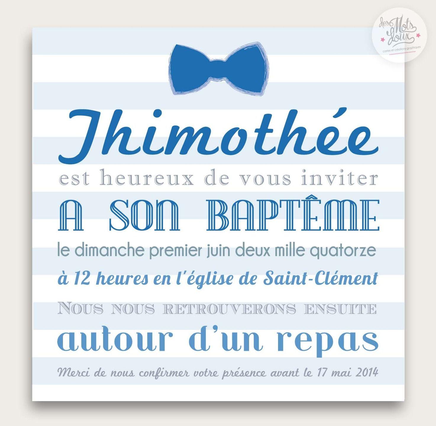 Faire,part original de baptême marin Noeud papillon pour garçon  Faire,part  par