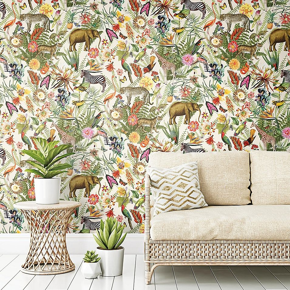 Roommates Tropical Zoo Vinyl Peel Stick Wallpaper Bed Bath Beyond In 2021 Peel And Stick Wallpaper Stone Wallpaper Wallpaper Roll