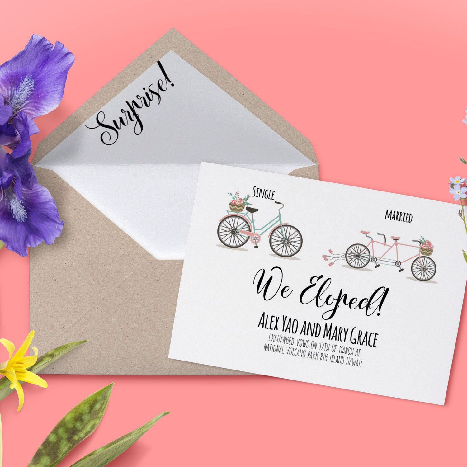 elopement announcement cards wedding announcement cards printed