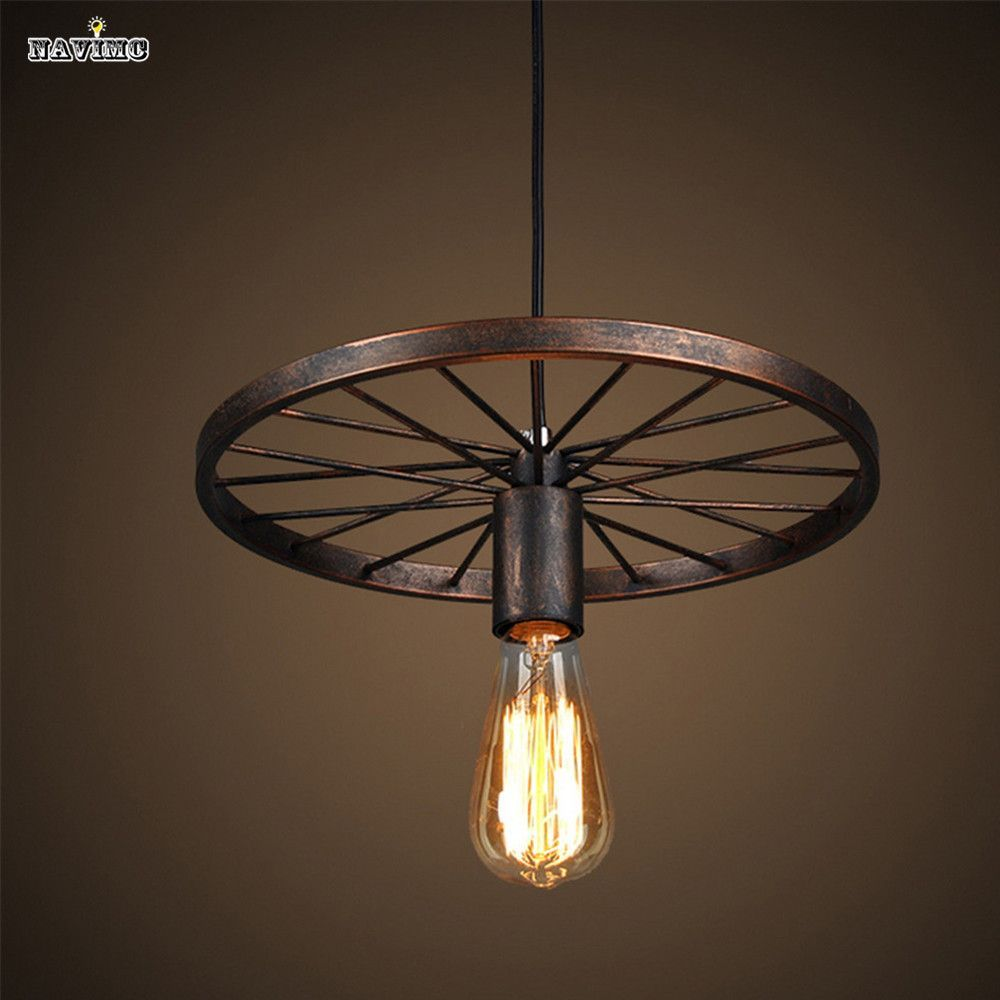 Item Type Pendant Lights Brand Name NAVIMC Technics Painted Body Material Iron Switch Type Touch On/Off Switch Light Source Incandescent Bulbs ... & Industrial Style Pendant Light with Black Iron Wheel-Like Retro ...