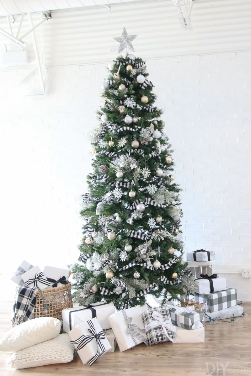 Black And White Christmas Tree For The Holidays Diy Playbook Plaid Christmas Decor Buffalo Plaid Christmas Decor Ribbon On Christmas Tree