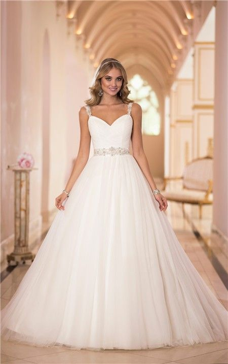 Princess Ball Gown Sweetheart Tulle Beaded Wedding Dress With Straps ...