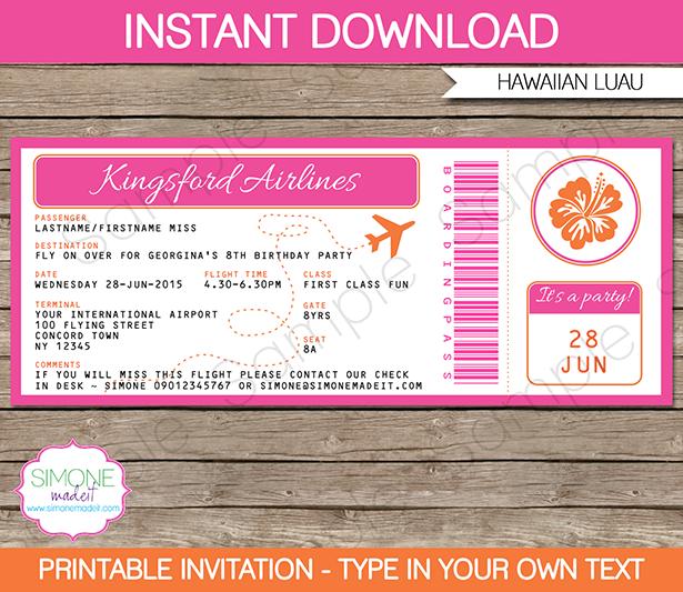 boarding pass template free - hawaiian luau boarding pass invitations template