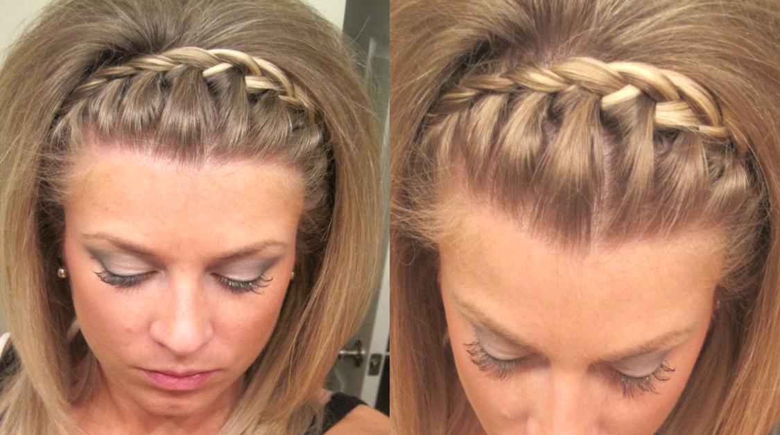 Pin By Brittany Plunk On Hair Braided Headband Short Hair Hair Styles Braids For Short Hair