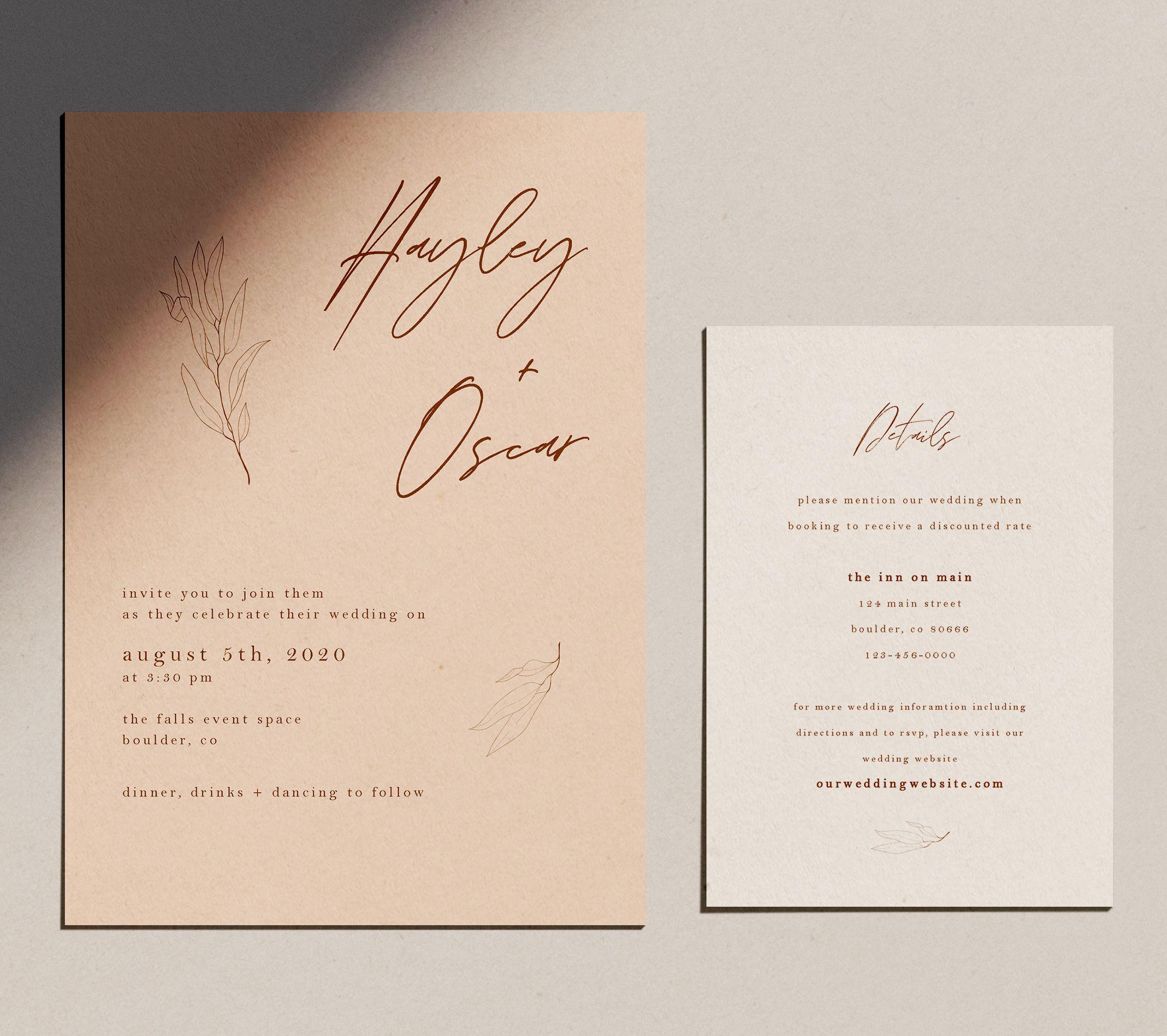 Modern Contemporary Wedding Invitation And Details Card Contemporary Wedding Invitations Modern Wedding Invitations Boho Invitations
