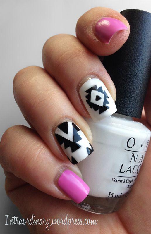 Aztec Print Nail Art nail art by Katie   Nails   Pinterest   Art ...