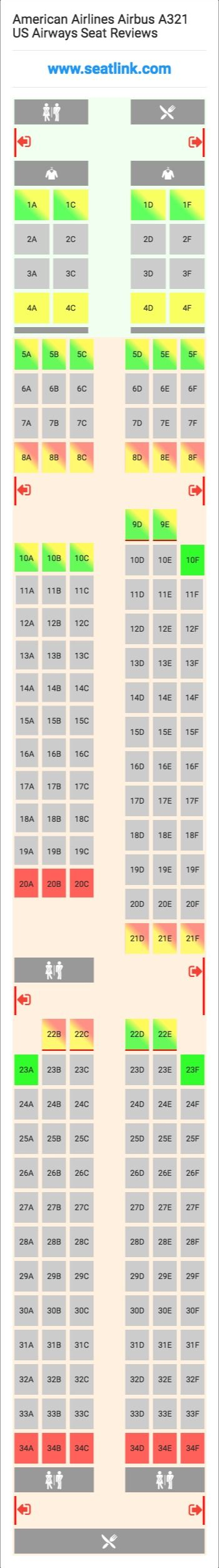 American Airlines Airbus A321 US Airways (321) Seat Map | Airline ...