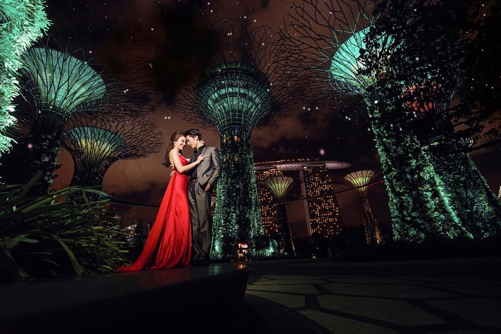 Pre Wedding Photography At Gardens By The Bay In Singapore Wedding Photoshoot Night Wedding Photography Pre Wedding Photoshoot