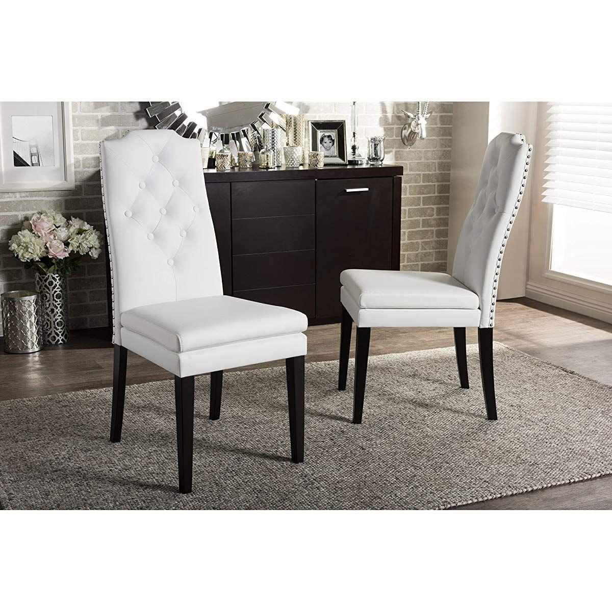 Nailheads Trim Dining Chair White