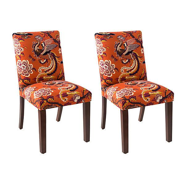 orange side chair folding camping high shannon burnt chairs pair dining sets 459 liked on polyvore featuring home furniture floral handcrafted