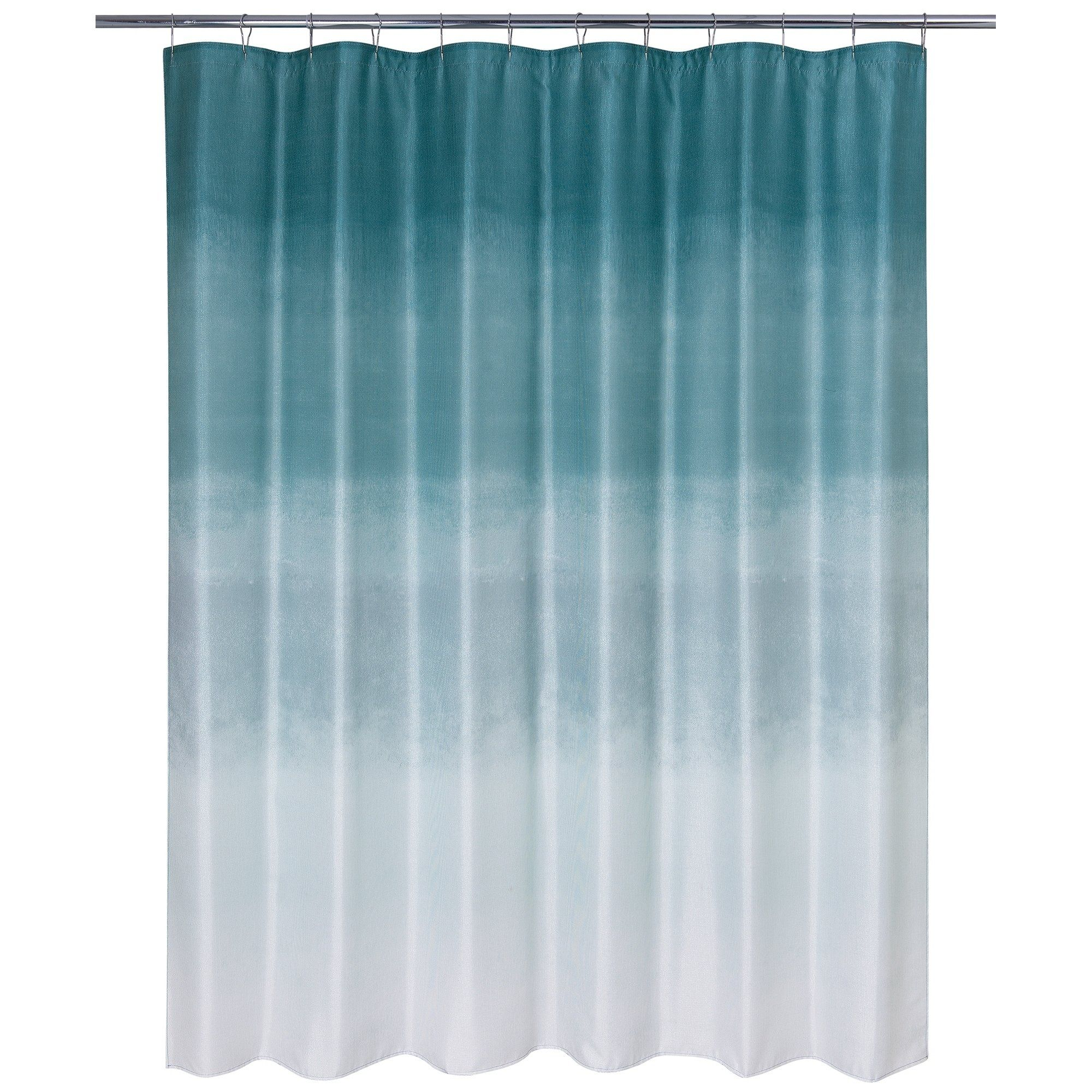 Metallic Ombre Glimmer Shower Curtain Teal Blue Curtains Ombre