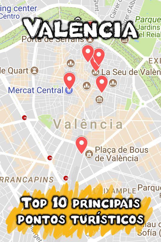 Mapa Dos Principais Pontos Turisticos De Valencia Na Espanha O