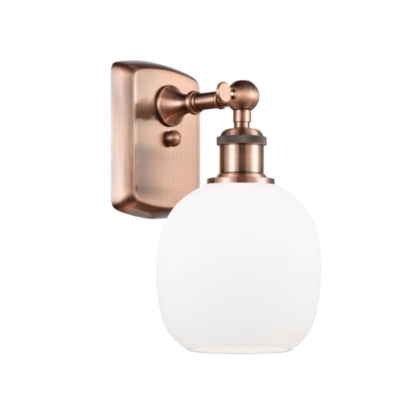 "Photo of Innovations Lighting 516-1W Belfast Belfast 11 ""Tall Bathroom Sconce Antique Copper / Matte White Indoor Lighting Bathroom Fixtures Bathroom Sconce"