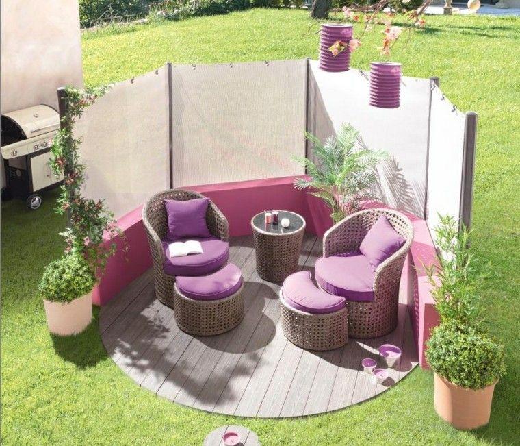 glorieta de jardin con muebles de rattan | muebles de jardín | Pinterest