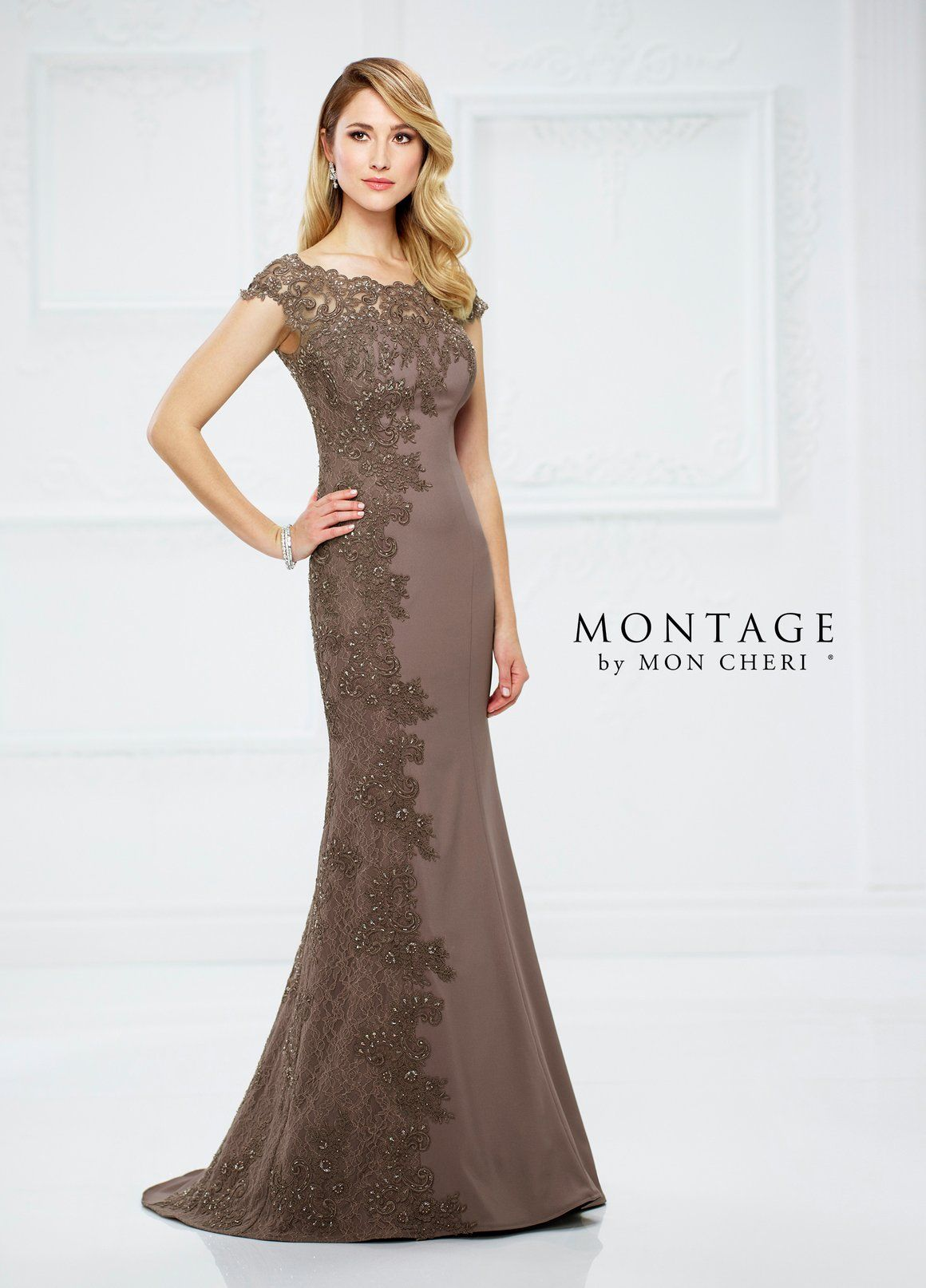 Lace dress with cape  Montage  Cape Side Lace Boatneck in Mocha Available in