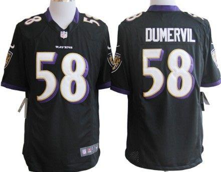 Nike Baltimore Ravens #58 Elvis Dumervil Black Limited Jersey