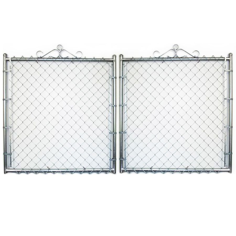 Common 6 Ft X 12 Ft Actual 6 Ft X 11 5 Ft Galvanized Steel Chain Link Fence Gate Lowes Com In 2020 Chain Link Fence Gate Fence Gate Chain Link Fence