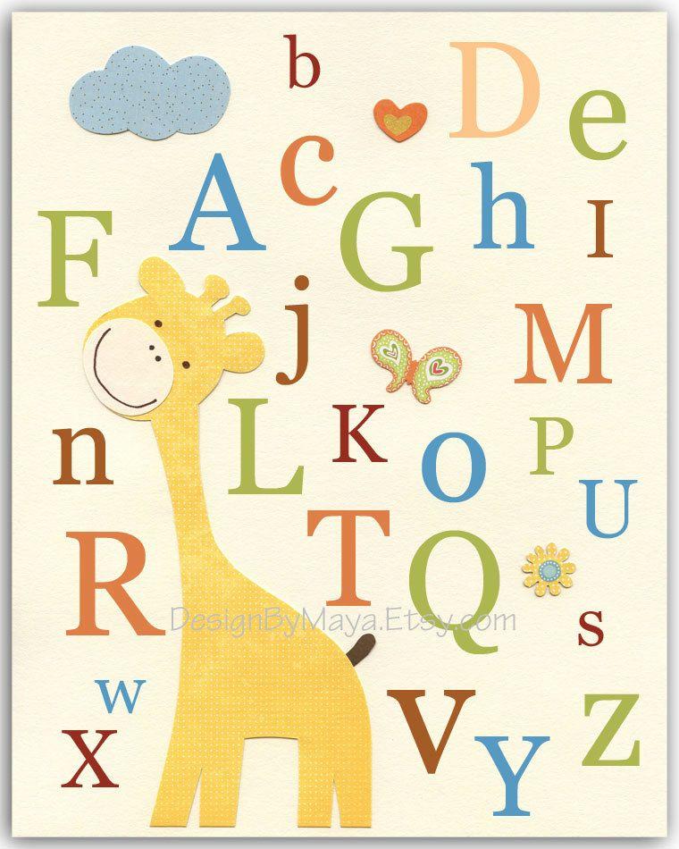 Nursery Art, Kids Print, Baby room print, jungle Animals, alphabet ...