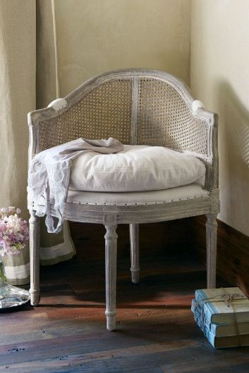 Delphine Chair - Petite Accent Chair, Caned Back Chair, Down Cushion Chair | Soft Surroundings
