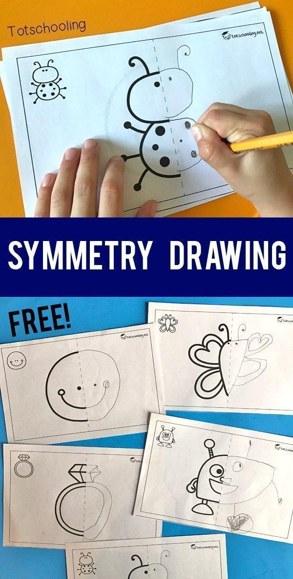 KOSTENLOSE druckbare Symmetrie-Zeichenaktivität für Kinder. Kuratiert von www.rightbrainedu ....